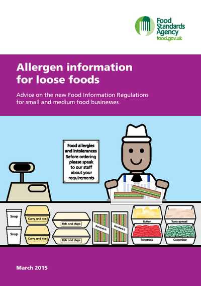 Cover page for 'Allergen information for loose foods'