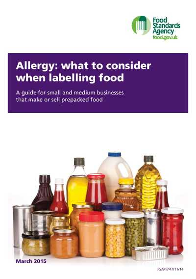 Cover page for 'Allergy: what to consider when labelling food'